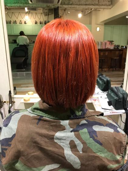 カラー ショート ブラッドオレンジのハイトーンカラー