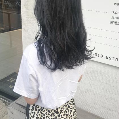 カラー ロング gray x blue