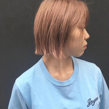 カラー ショート セミロング ヘアアレンジ ミディアム ロング 外国人風ピンクベージュカラー+切りっぱなし