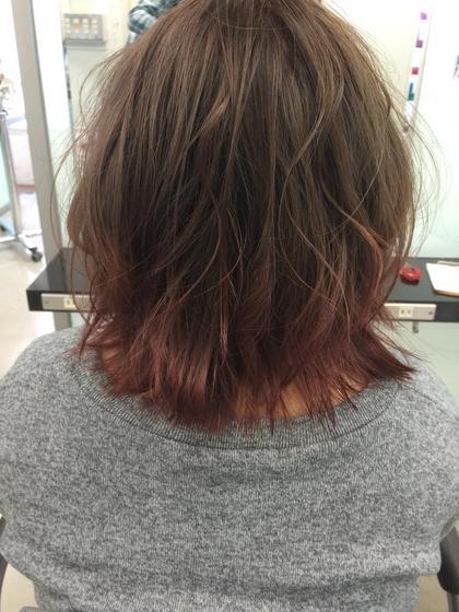 カラー ショート セミロング ミディアム メンズ ロング 柔らかいヘルシーカラーに毛先をピンクアッシュ