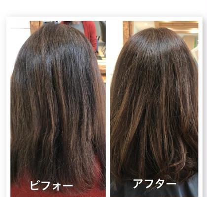 カラー ミディアム 全体カラーの後毛先3cmくらい整え、前髪も少し切りました!
