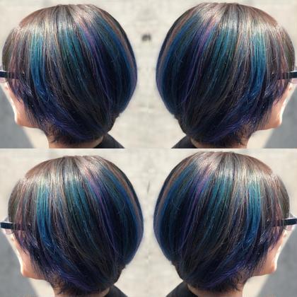 その他 カラー ショート 青、紫、アッシュでユニコーンカラーに🦄 (デザインにより料金が異なりますので詳しくはお問い合わせ下さい^ ^)