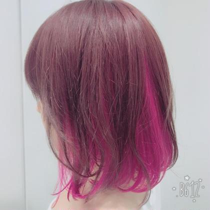 インナーpink可愛い 可愛いカラーすき♡ 関口三都季のミディアムのヘアスタイル