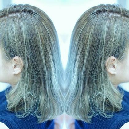 ハイライト×グレージュ evahair のミディアムのヘアスタイル