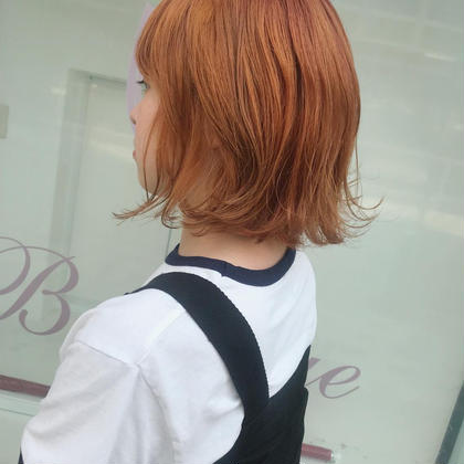 カラー ショート orange beige🧡 ブリーチベースにhighlightも入ってるので 外国人のようなムラカラー🍊