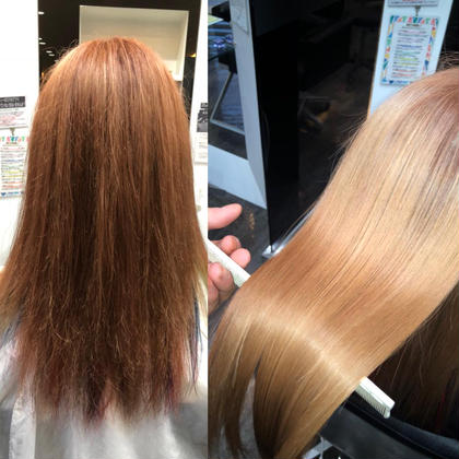 左Before    右after サイエンスアクア 美髪チャージでここまでダメージが復活します!!! ツヤツヤサラサラです💓 カイヌマサラのセミロングのヘアスタイル