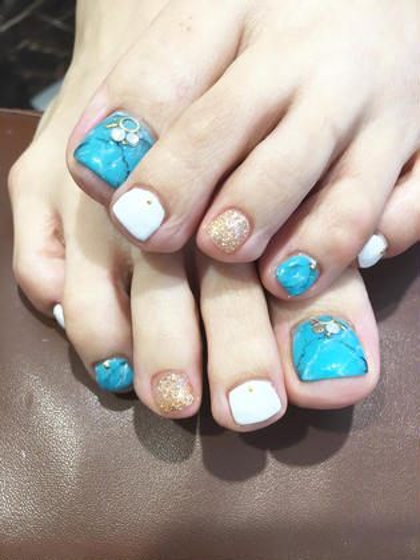 カラー ショート ネイル フットネイル♡夏本番です!