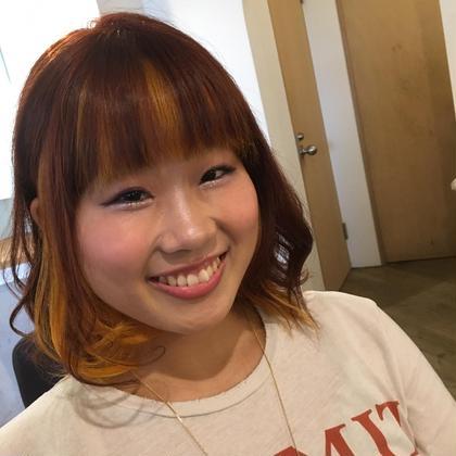 インナーカラー!黄色と赤オレンジでファンキーに!! Hair&spa likklemore by Rico所属・川端かんなのスタイル