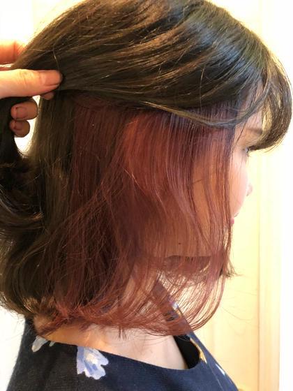 カラー ヘアアレンジ ミディアム インナーカラー♪♪ 表面はグレージュ、インナーはピンク♡
