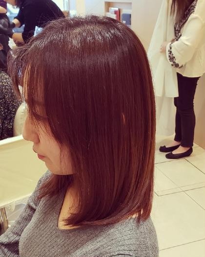#アオハル🌈艶カラー+前髪カット♥+うるツヤトリートメント🌈