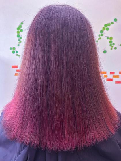 ピンクバイオレット カラートリートメント 縮毛矯正