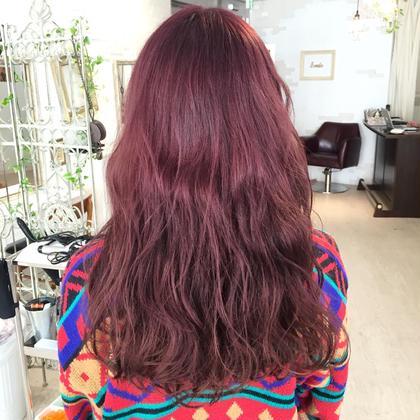 カラー ロング 人気NO.4 ピンクバイオレットカラー!! ダブルカラーで仕上げるヘアカラー