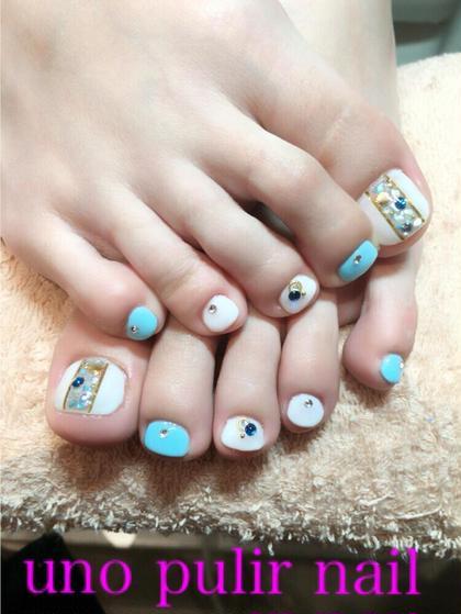 親指アートが夏らしい(●´ω`●) 他の指にもプラスでストーンを追加☆ キャンティ所属・早川輝のフォト