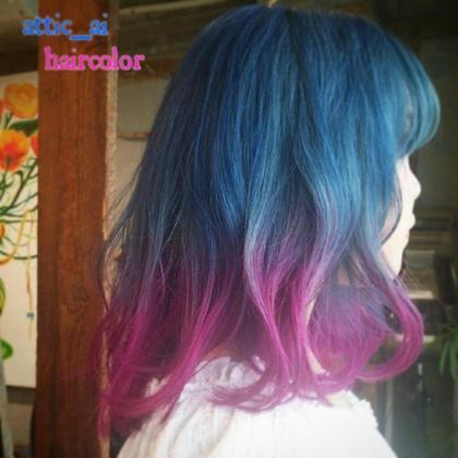 ブリーチ後にブルー×ピンクのグラデーション☆* attic所属・attic☆アティックのスタイル