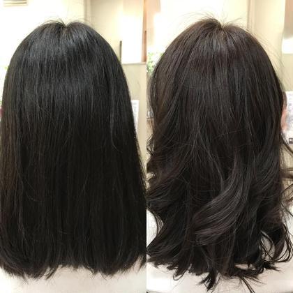 カラー セミロング ナチュラルブラウン。 黒髪を少しだけ茶色に明るくしました。