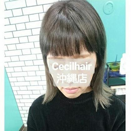 外ハネ×切りっぱなしボブ アディクシー×バレイヤージュ Cecil沖縄店 ちさとのミディアムのヘアスタイル