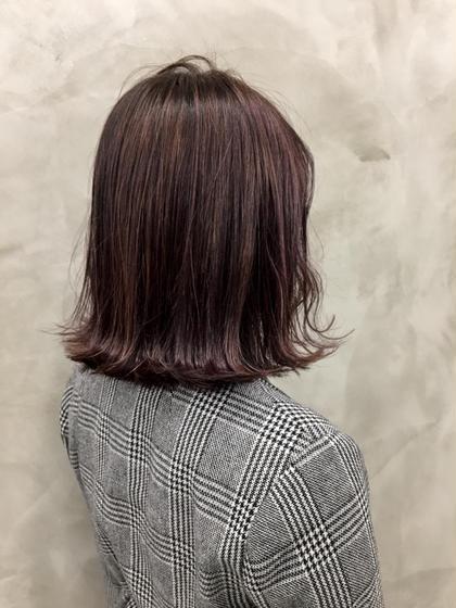 カラー ブリーチ毛の髪に、パープルとグレー◎ グレーはもはや必須! #ダブルカラー