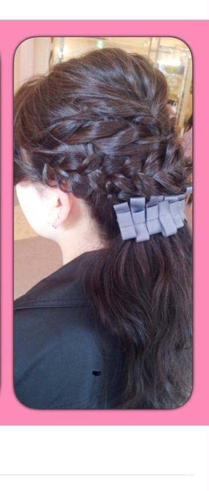 編み込み➕ロープ編みでオシャレにまとめ髪♡ e.m.a INTERNATIONAL所属・紙野可愛のスタイル