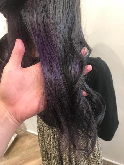 カラー セミロング ブリーチインナー1回してます!! 紫を入れてます(*^_^*)