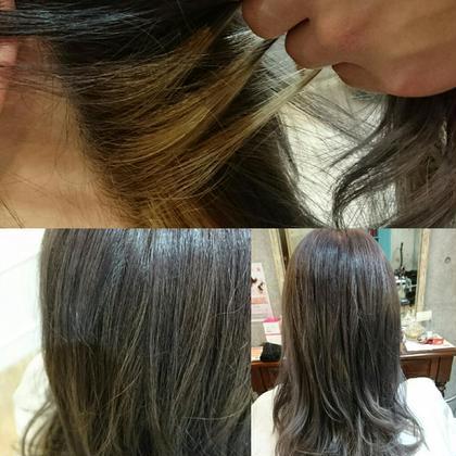 ラベンダーアッシュに金髪インナーで普段と違うを演出。 Hulahair所属・岸本渉のスタイル