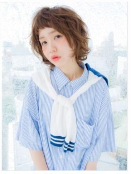 カラー パーマ ミディアム 短め前髪☆ キュート❤︎