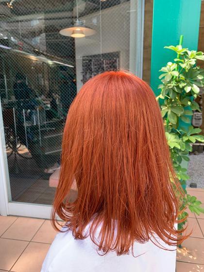 新色のベビーオレンジ🍊  夏のハイトーンにぴったりな一色 ブリーチ必須カラーです!