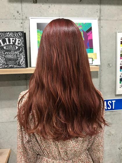 カラー ロング ピンクレッド × ハイライト⚡️