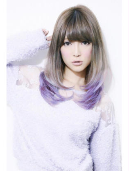 カラー セミロング ロング 紫のグラデーションカラー