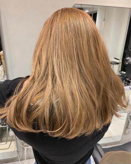 💡ハイトーンカラー必須💡Wハイブリーチ&外国人風カラー+髪質改善トリートメント リタッチ、ハイライトもこちら🍊