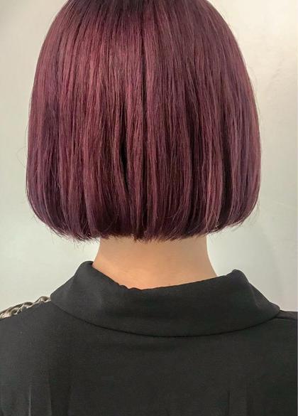カラー ▽スモーキーピンクパープルミニボブ▽   少しくすんだピンク?パープル? みたいな色が気分。  ブリーチは2〜3回必須です!  #イルミナカラー #トワイライト #オーキッド #コーラル