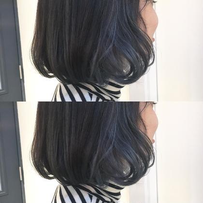 カラー ショート インナーカラー ブルー グレージュ