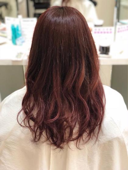ブリーチなし 元々ピンク系だったため ブリーチなしでもこの色!  グラデーションを残しつつ 毛先に最も色が出るように! Ash 久我山店所属・渡部純生のスタイル