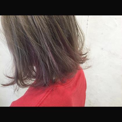 カラー ショート セミロング ミディアム Real salon work✂︎ [アッシュベージュ×プラムピンク] アッシュベージュをメインにインナーカラーでプラムピンクを差し色に☆ . #NAKAIstyle #ブリーチ#ハイトーン#カラー#アッシュベージュ#インナーカラー#プラムピンク#ボブ#外ハネボブ#切りっぱなしボブ#お客様カットカラー