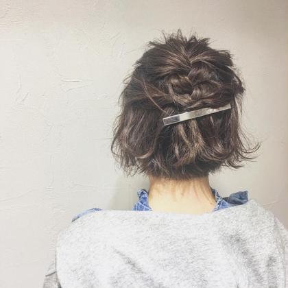 ボブはシンプルに編み込んで☆ 中野恵脩のショートのヘアスタイル