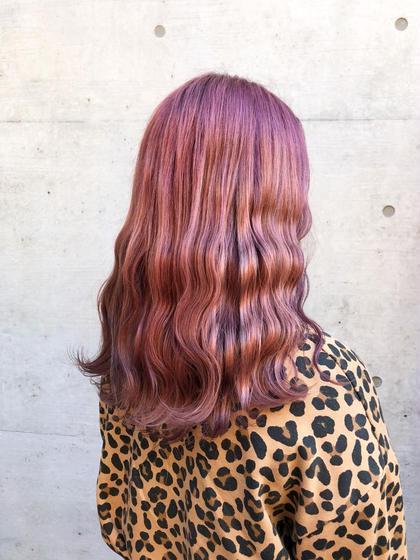 その他 カラー セミロング ヘアアレンジ ブリーチ後ピンクベージュに染めました🌸 髪のダメージがある方はケアブリーチがおススメです😊