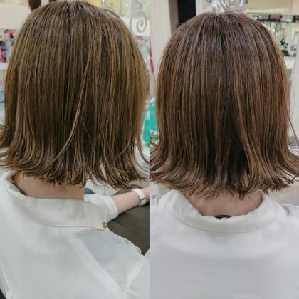 ☑️4月限定メニュー☑️⭐ダメージレスの定番⭐髪の毛に優しいツヤカラー ➕ 傷み補修トリートメント