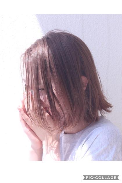 【メンテナンスに☆】前髪カット+透明感カラー+aujua 1Stepトリートメント