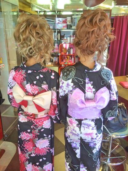 セミロング ヘアアレンジ ロング 浴衣のヘアセット♡