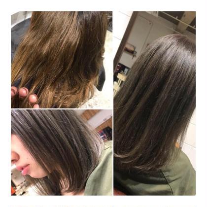 カラー ミディアム medium style . color 【 greige ✨】    左上のように、 明るく退色していれば かなり綺麗な グレージュになります🍃   色持ちを考えて、 少し暗めにするのがおすすめです。   本格トリートメントで 髪の内側から しっかりダメージ補修します💕