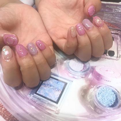 ネイル キレイ色のピンクのニュアンス♡ ありがとうございました!  ニュアンスネイルコース
