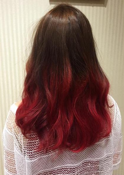 カラー セミロング ベージュ〜ラズベリーレッドのグラデーション♡