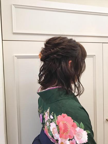 カラー パーマ ヘアアレンジ ミディアム 袴の着付けとヘアセット❤️ 緑の着物が可愛かったです^ ^