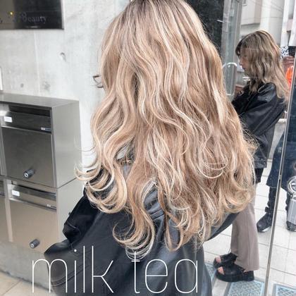 カラー ロング highlight× milk tea