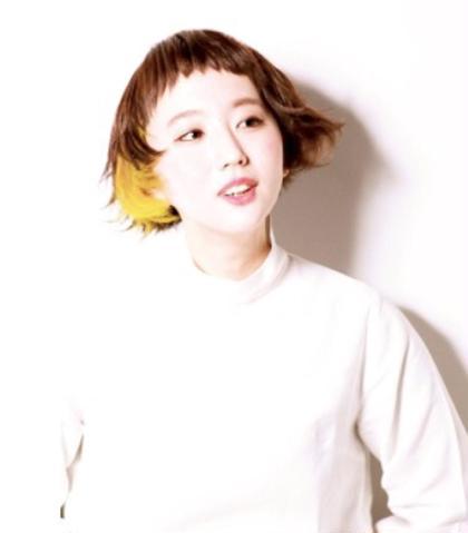 耳後ろにイエローのアクセントカラーをいれました。 GALLARIA Elegante 春日井店所属・YOKOISHINJIのスタイル