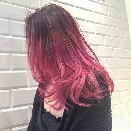 カラー セミロング フラッシュピンク