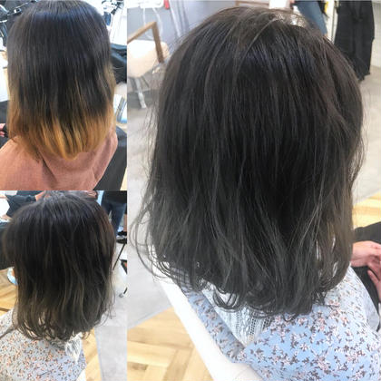 カラー ショート 来店時グラデーションの色落ちした髪。 ブリーチ1回でも綺麗なグレージュに🌟