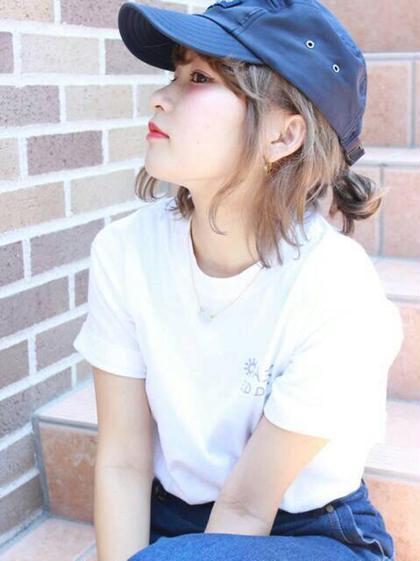 後れ毛が可愛いスタイル♡ 亀川祐果のミディアムのヘアスタイル