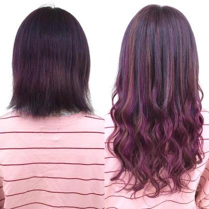 赤味系でグラデーションスタイル★地毛の色味も少し入れてナチュラルに仕上げました♪  アプリ登録のお客様は仕上げの巻き髪無料サービス♪