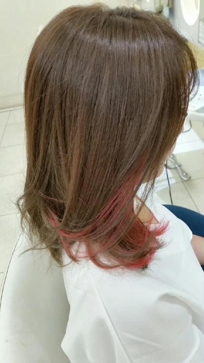 インナーカラーで、赤を入れました(^^)/ インターモード花形上野店所属・大塚翼のスタイル