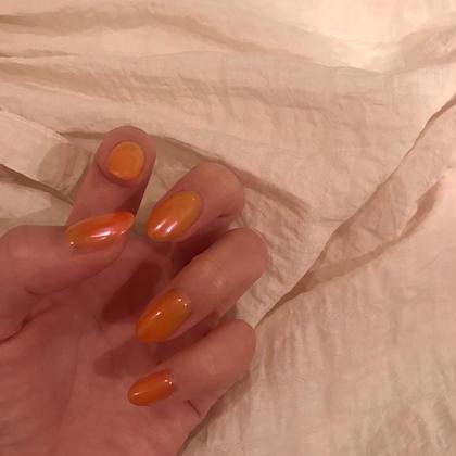 ︎❤︎ワンカラー+クリア混合+オーロラパウダー 野田瑞稀のネイルデザイン